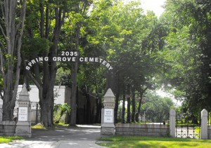 Spring Grove cemetery view front gate Jul 6 2013
