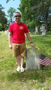 Gunnery Sergeant Robert Warner, Ret. (USMC) after placing the Colors at his great great grandfather's grave site June 2016